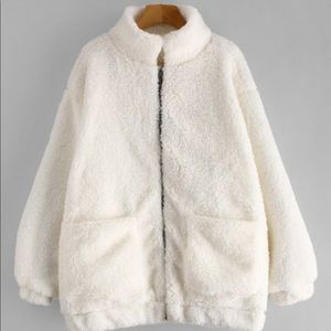 Zaful White Teddy Coat